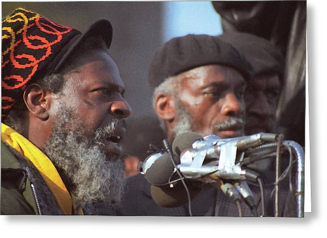 The Leaders Of A Local Antyracist Movement While Performing Their Speach During Toronto Riots 1992 Greeting Card