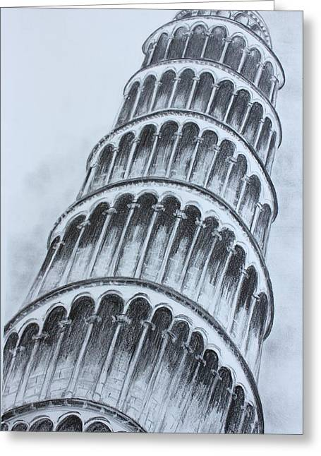 The Leaning Tower Of Pisa Greeting Card by Kathy  Karas