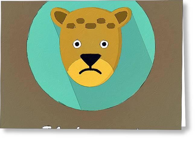 The Leopard Cute Portrait Greeting Card by Florian Rodarte