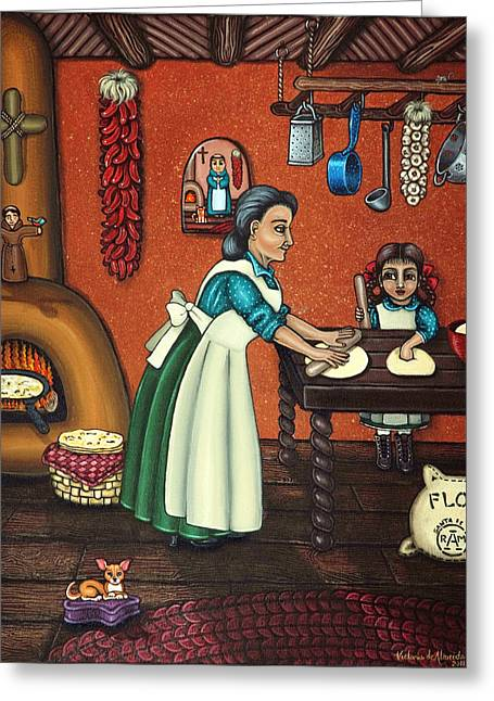 The Lesson Or Making Tortillas Greeting Card by Victoria De Almeida