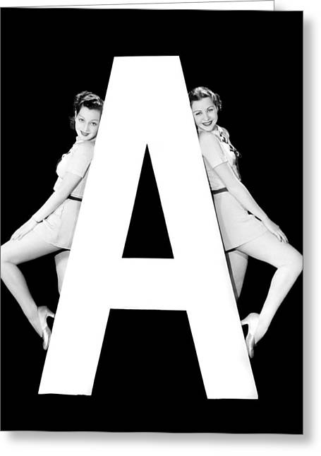 The Letter a And Two Women Greeting Card by Underwood Archives