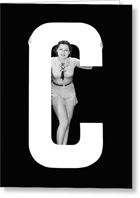The Letter c And A Woman Greeting Card by Underwood Archives