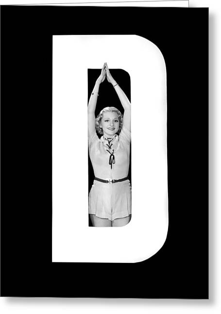 The Letter d And A Woman Greeting Card by Underwood Archives