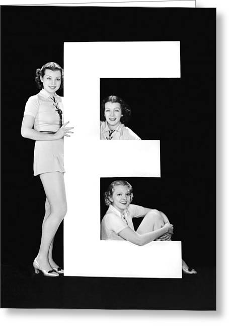 The Letter e And Three Women Greeting Card