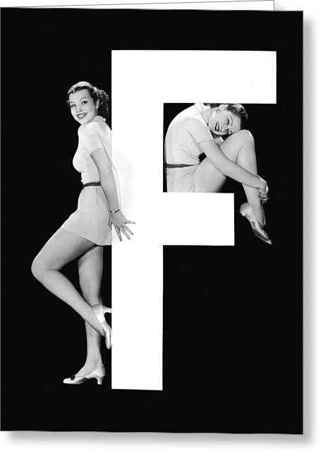 The Letter f And Two Women Greeting Card by Underwood Archives