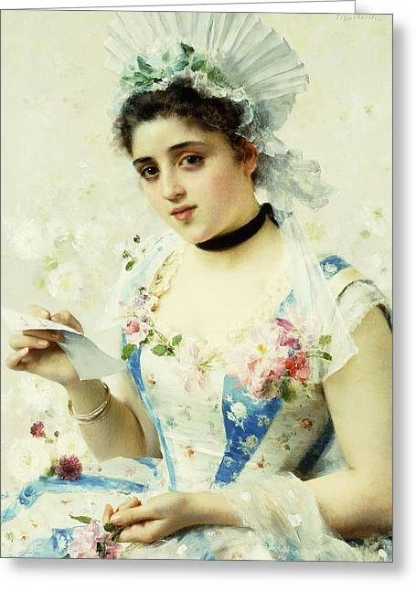 The Letter Greeting Card by Federigo Andreotti
