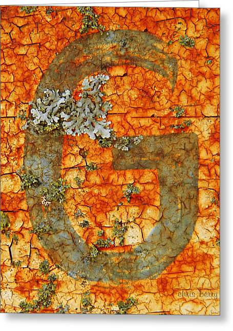 The Letter G With Lichens Greeting Card by Chris Berry
