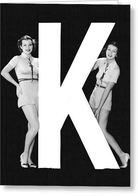 The Letter k  And Two Women Greeting Card by Underwood Archives