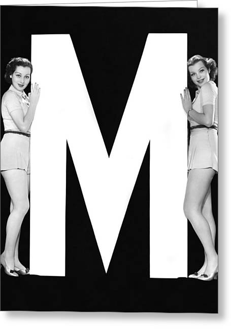 The Letter m  And Two Women Greeting Card