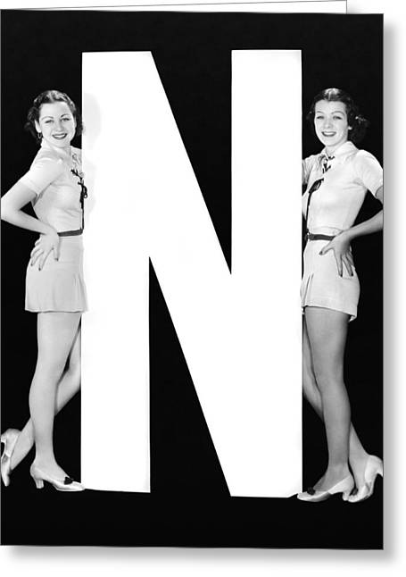 The Letter n  And Two Women Greeting Card by Underwood Archives
