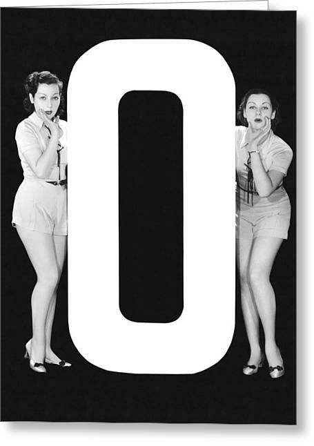 The Letter o  And Two Women Greeting Card by Underwood Archives