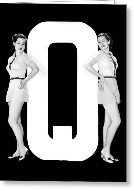 The Letter q  And Two Women Greeting Card by Underwood Archives