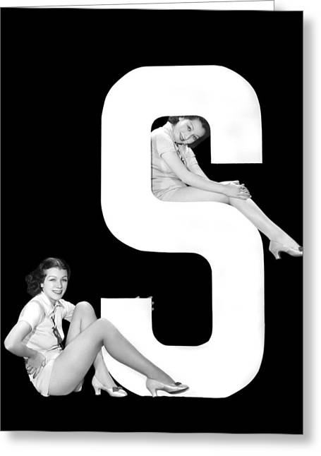 The Letter s  And Two Women Greeting Card by Underwood Archives