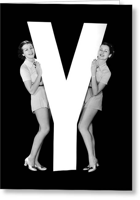 The Letter y And Two Women Greeting Card by Underwood Archives