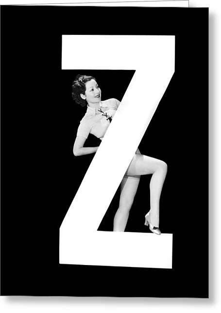 The Letter z And A Woman Greeting Card by Underwood Archives