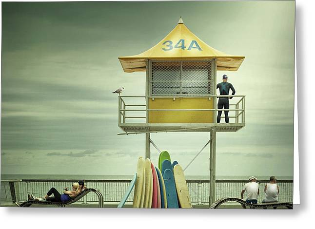 The Life Guard Greeting Card by Adrian Donoghue