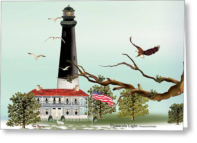 The Light House At Pensacola Greeting Card