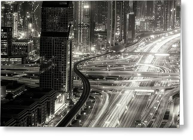 The Light River Of Dubai Greeting Card by Ahmed Thabet