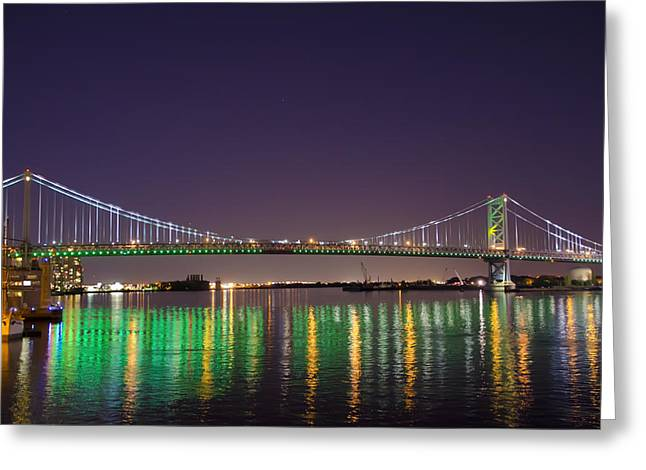 The Lighted Ben Franklin Bridge Greeting Card by Bill Cannon