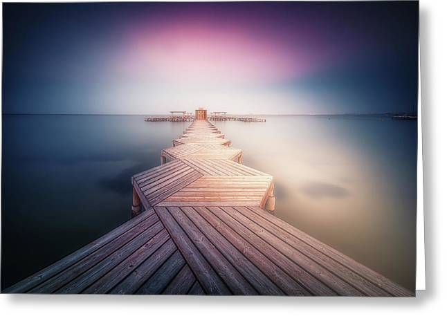 The Lighted Pier. Greeting Card