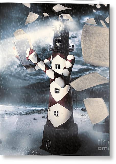 The Lighthouse And The Fishermans Tale Greeting Card