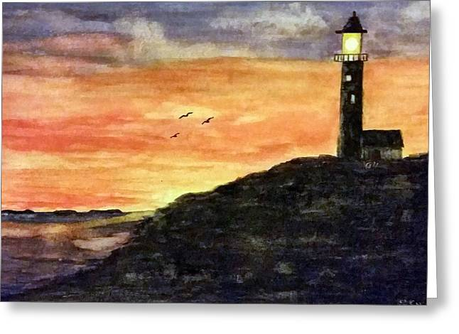 The Lighthouse At Dusk Greeting Card