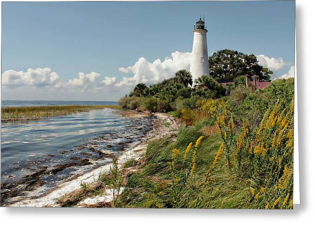 The Lighthouse At St. Marks Greeting Card by Lynn Jordan