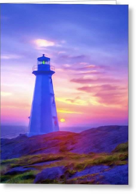 The Lighthouse At Sunset Greeting Card