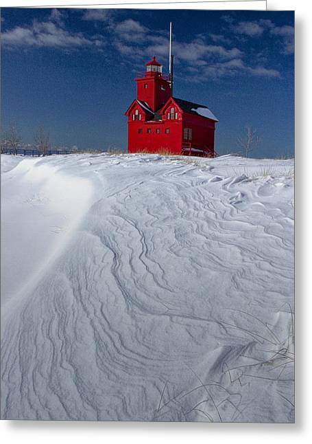 The Lighthouse Big Red During Winter In Holland Michigan Greeting Card by Randall Nyhof