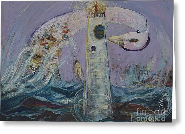 The Lighthouse Keeper And The Swan #1  Greeting Card