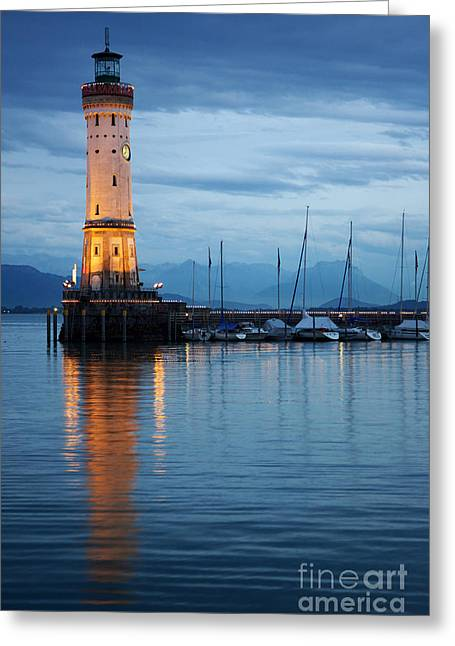 The Lighthouse Of Lindau By Night Greeting Card by Nick  Biemans