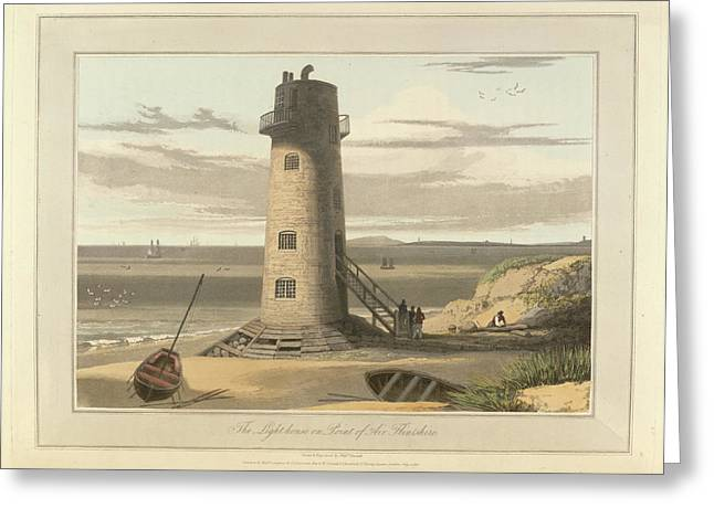 The Lighthouse On Point Of Air Greeting Card by British Library