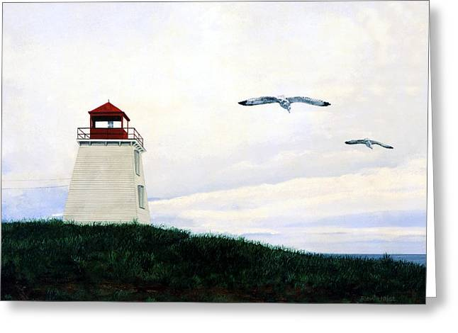Greeting Card featuring the painting The Lighthouse by Ron Haist
