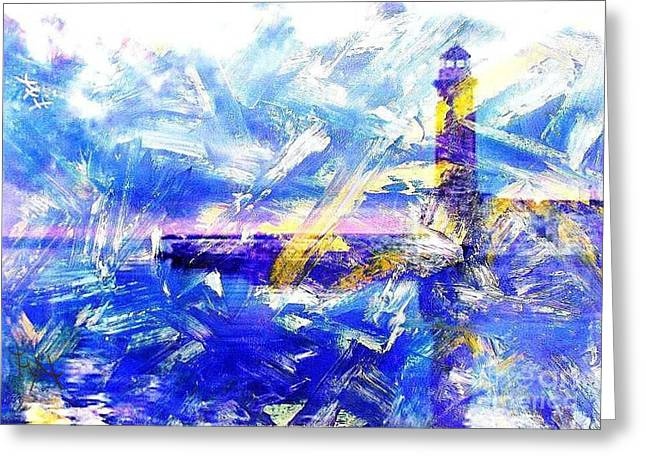 The Lighthouse Through Turbulent Waters Greeting Card by PainterArtist FIN