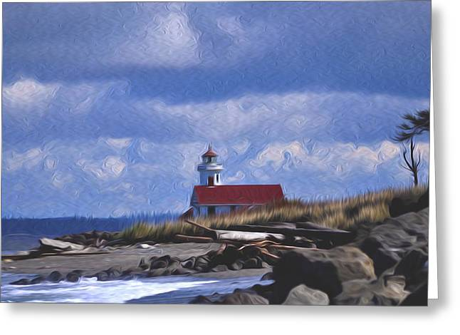 The Lighthouse With The Red Roof. Greeting Card