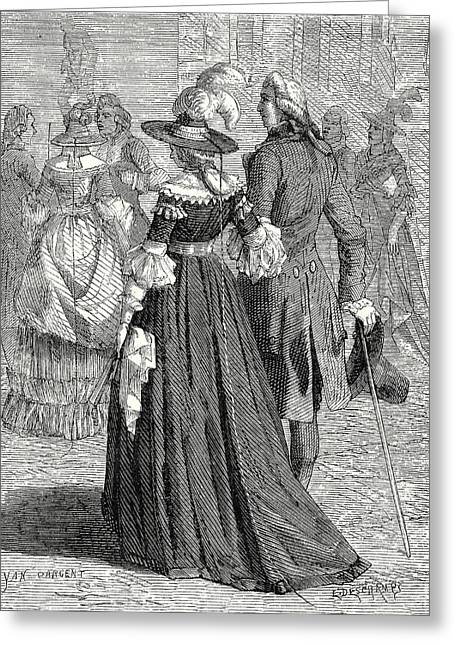 The Lightning-hat Ladies In Paris In 1778 Greeting Card by English School