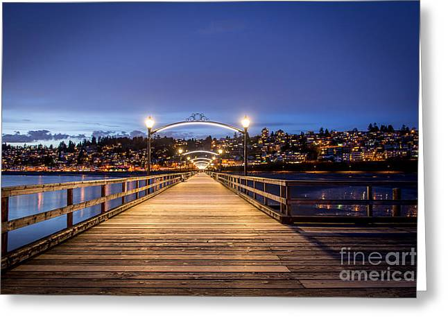 The Lights Of White Rock Beach - By Sabine Edrissi Greeting Card