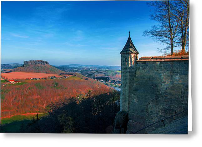The Lilienstein Behind The Fortress Koenigstein Greeting Card