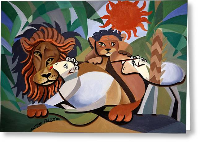 Greeting Card featuring the painting The Lion And The Lamb by Anthony Falbo