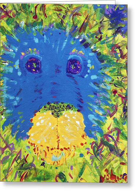 Greeting Card featuring the painting The Lion Blooms In Springtime by Yshua The Painter