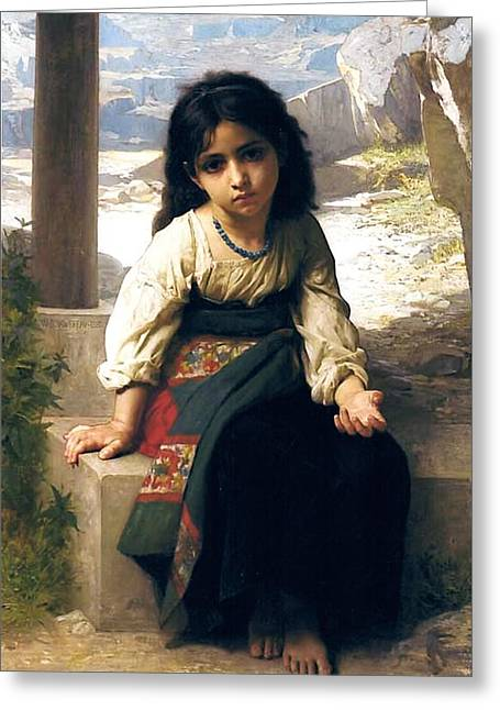 The Little Beggar Greeting Card by William Bouguereau