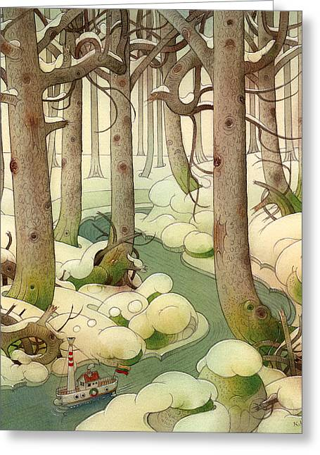 Snowed Trees Drawings Greeting Cards - The Little Boat 01 Greeting Card by Kestutis Kasparavicius