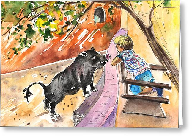 The Little Boy And The Black Pig Greeting Card