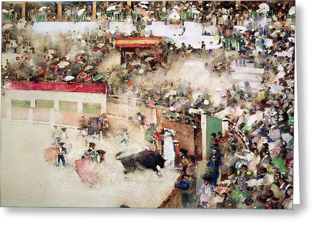 The Little Bull Fight Bravo Toro Seville Greeting Card by Arthur Melville