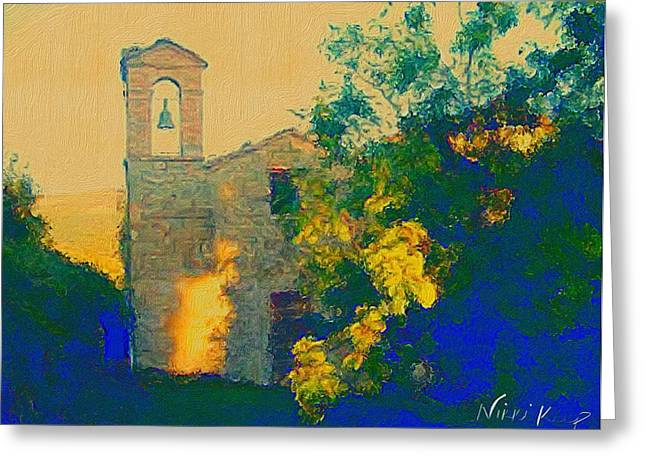 The Little Chapel In Italy Greeting Card by Nikki Keep