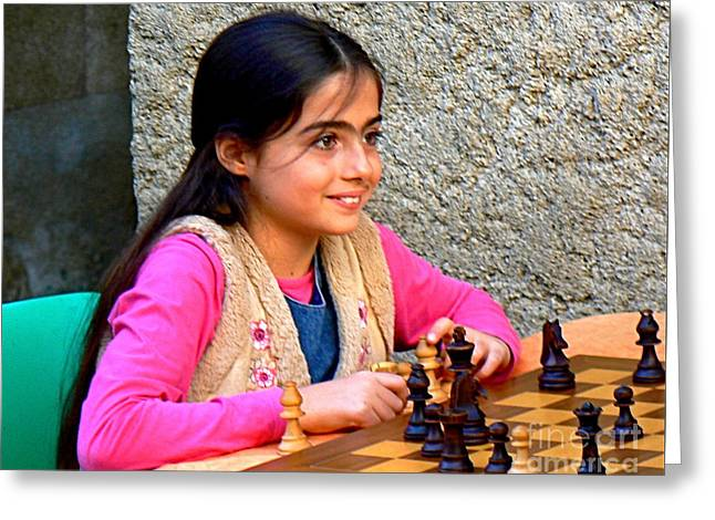 The Little Chess Player Greeting Card by France  Art