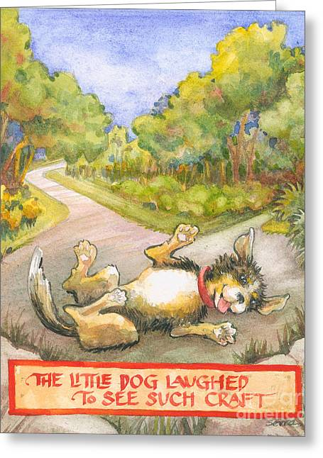 Greeting Card featuring the painting The Little Dog Laughed by Lora Serra