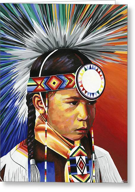 The Little Powwow Dancer Greeting Card by Tyrone Whitehawk
