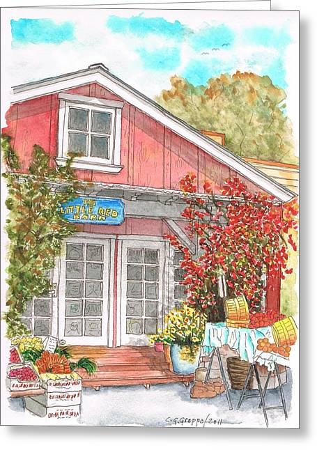 The Little Red Barn In Calabasas - California Greeting Card by Carlos G Groppa