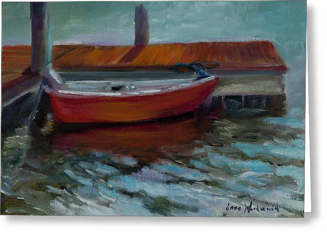 The Little Red Boat Greeting Card by Jane Woodward
